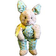 Vintage Plush Easter bunny Dressed Yellow Chicks Overalls