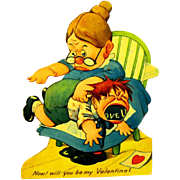 Mint, Rare, Unused Mechanical Valentine, Katzenjammer Kid spanked by Mama