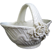 Creamy White Embossed Pottery Candy Basket with Roses Motfif