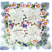 Old Folding Valentine with Scraps and Paper Lace OverLay