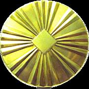 1950's Max Factor Brass Creme Puff Mirror Compact, Starburst Pattern