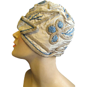 1920's Embroidered Taffeta Cloche for the Sophisticated Flapper