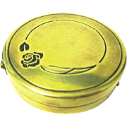 "Marshall Fields Metal Powder Compact, ""Blue Rose by Lanchere"""