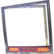 """Supreme Colonial Bakers"" Hinged Advertising Tin/Glass Lid for General Store Counter Display"