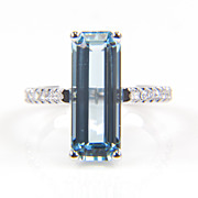 Aquamarine Ring - Aquamarine and Diamond Ring - Large Aquamarine - March Birthstone - Rectangular Aqua