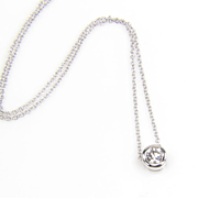 Round Diamond Pendant - 14K White Gold Diamond Necklace