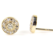 Yellow Gold Diamond Halo Earrings - Diamond Earrings