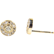 Yellow Gold Diamond Halo Earrings - Diamond Earrings - Red Tag Sale Item