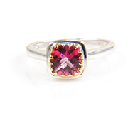 Topaz Ring - Pink Topaz Ring - Two Tone Silver and Gold Ring - Gemstone Ring - Pink Gemstone Ring - Silver Ring