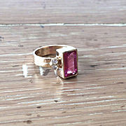 14K Yellow Gold Rectangle 2.34 carat Pink Tourmaline and Diamond Ring
