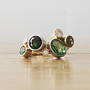 Multi Gemstone Ring in 14K Yellow and 14K White Gold - Peridot,Tourmaline, Tsavorite and Diamond Gold Ring