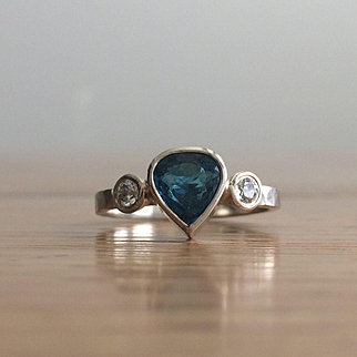 Pear Shaped Blue Tourmaline Ring-Multistone -Pear Shaped Engagement-Stackable Ring-Tourmaline Jewelry-Large Gemstone Ring-Artisan Jewel