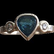 Pear Shaped Blue Tourmaline Ring-Multistone -Pear Shaped Engagement-Stackable Ring-Tourmaline Jewelry-Large Gemstone Ring-Artisan Jewel