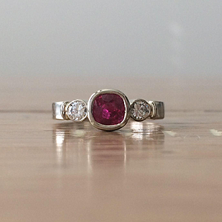Genuine Ruby and Diamond 14K White Gold Ring - Three Stone Ring - Ruby Engagement Ring - Gold Ring - Gemstone Ring