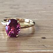 Oval AA Quality Pink Tourmaline 18k Yellow Gold Fleur de Lis Ring - Large Gemstone Ring - Pink Tourmaline Jewelry
