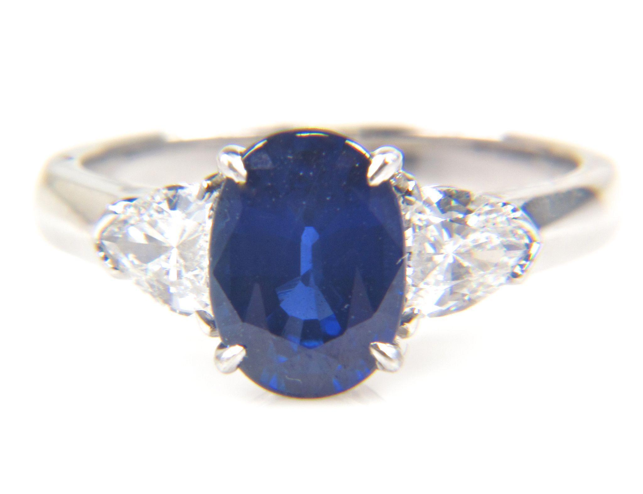 Reserved For Justin 233 Carat Genuine Oval Blue Sapphire And Kite Shaped  Diamond Platinum Ring