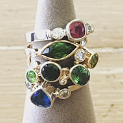 Handmade 0.97 carat Genuine Marquise Cut Green Tourmaline with Diamonds in Yellow Gold - Handmade Artisan Rings