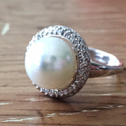 Genuine Round Freshwater Pearl Diamond Halo Sterling Silver Ring - Artisan Rings