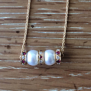 Akoya Genuine White Pearl Pendant with Rubies and Diamond Rhondells - Handmade Jewelry