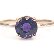 Round Genuine Purple Amethyst 14K Yellow Gold Solitaire Ring - Gemstone Ring - Gold Gemstone Ring