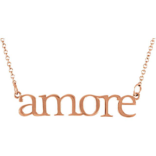 Gold Amore Necklace - Yellow Gold Letter Necklace - Word Necklace