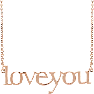 Love You Necklace - Rose Gold Pendant - Rose Gold Necklace - Word Necklace