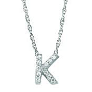 Diamond Letter Pendant - White Gold Diamond Letter Necklace