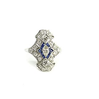 Antique Art Deco Marquise Diamond and Sapphire Platinum Ring