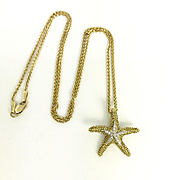 Yellow Gold and Diamond Starfish Pendant - Starfish Necklace