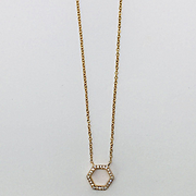 Diamond Hexagon Pendant - Diamond Pendant - Rose Gold Necklace