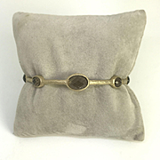 Yellow Gold Plated Sterling Silver Genuine Quartz Bangle Bracelet