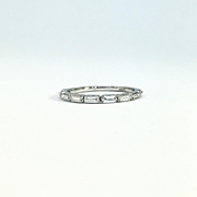 Diamond Baguette 14k White Gold Band - Baguette Ring - Stackable Band
