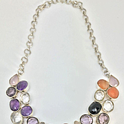 Sterling Silver Gemstone Bib Necklace