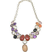 Sterling Silver Gemstone Bib Necklace