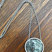 14k White Gold Diamond Coin Pendant