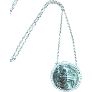 14k White Gold Diamond Coin Pendant