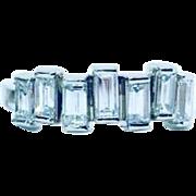 Straight Diamond Baguette Ring - White Gold Baguette Ring - Diamond Wedding Band
