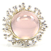Rose Quartz Silver and Gold Ring - Cabochon Rose Quartz Ring