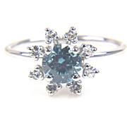Zircon and Diamond Flower Ring Diamond Flower Ring Round Blue Zircon Ring