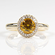 Round Yellow Sapphire Diamond Halo Ring in 14K Yellow Gold