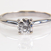 14K White Gold Round Diamond Solitaire Ring - Half Carat Diamond Ring