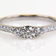 Three Stone Round Diamond Platinum Engagement Ring