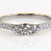 Three Stone Round Diamond Platinum Engagement Ring