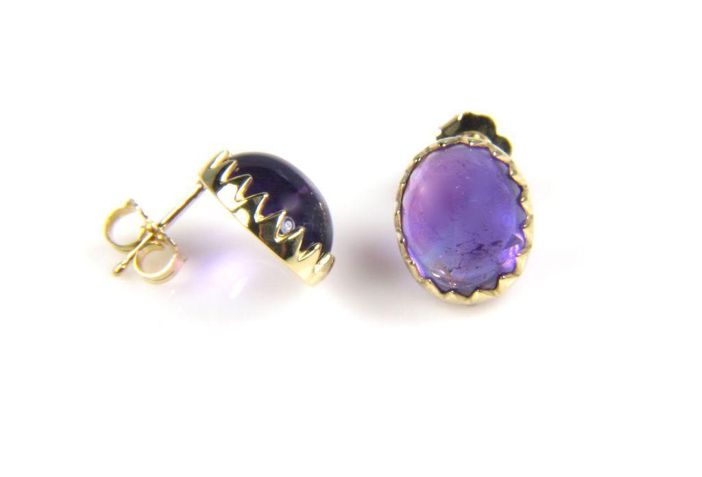 amethyst earrings 18k yellow gold amethyst earrings