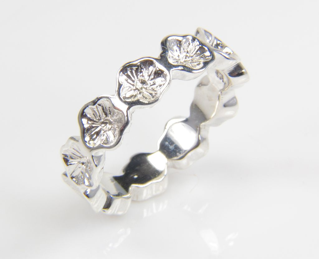 Silver Flower Ring - Flower Band - Flower Jewelry - Silver Band