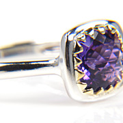 Purple Amethyst Silver and Gold Ring