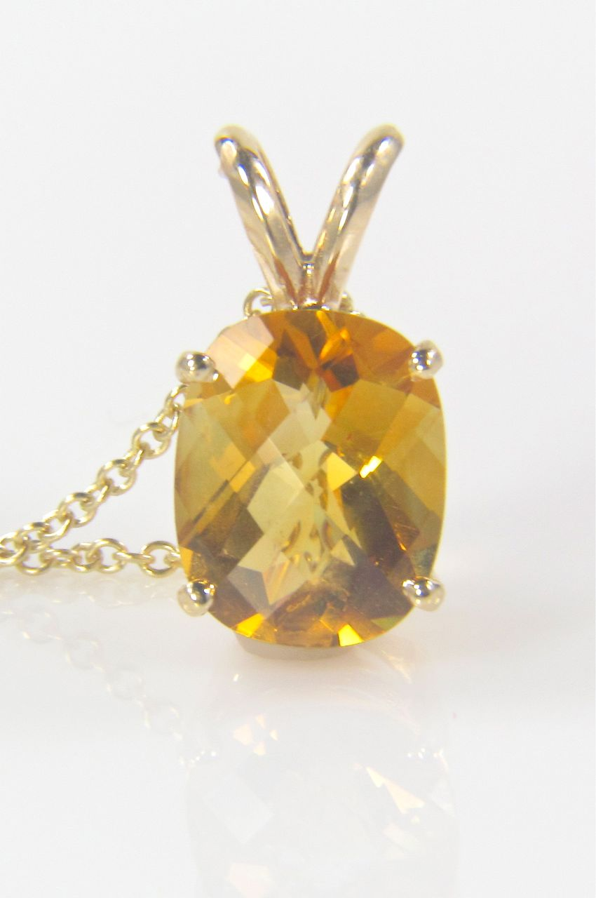 Citrine Pendant - Cushion Cut Citrine - Citrine Gemstone - November Birthstone - Gold Pendant