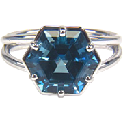 London Blue Topaz 14K White Gold Ring December Birthstone Ring