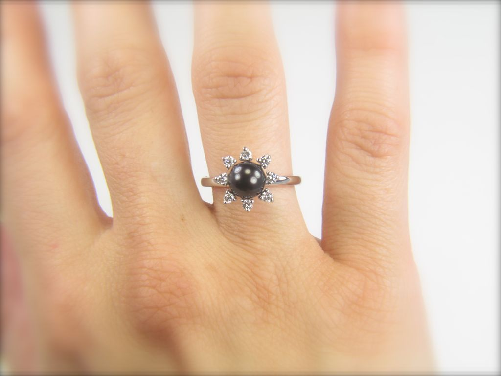 Black Pearl Ring Diamond And Pearl Ring Black Cultured Pearl