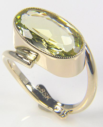 Lime Green Beryl Gold Ring - Gemstone Ring - Jewel Ring